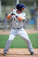 GCL Rays designated hitter David Parrett (38) at bat during the first game of a doubleheader against the GCL Red Sox on August 9, 2016 at JetBlue Park in Fort Myers, Florida.  GCL Rays defeated GCL Red Sox 5-4.  (Mike Janes/Four Seam Images)