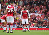 1st October 2017, Emirates Stadium, London, England; EPL Premier League Football, Arsenal versus Brighton; Alexandre Lacazette of Arsenal prepares to kick off