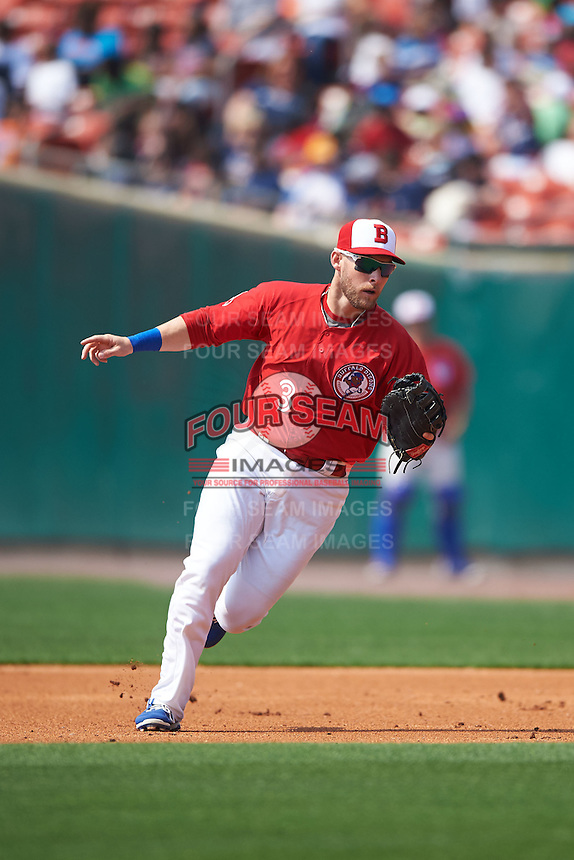 Buffalo Bisons first baseman Daric Barton (3) fields a ground ball during a game against the Scranton/Wilkes-Barre RailRiders on June 10, 2015 at Coca-Cola Field in Buffalo, New York.  Scranton/Wilkes-Barre defeated Buffalo 7-2.  (Mike Janes/Four Seam Images)