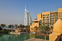 Dubai, United Arab Emirates. Madinat Jumeirah. Burj al Arab Hotel and Mina A'Salam Hotel. ..