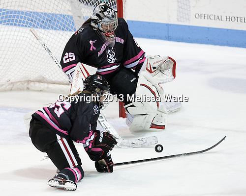 Tori Hickel (NU - 55), Chloe Desjardins (NU - 29) - The Northeastern University Huskies defeated the visiting Providence College Friars 8-7 on Sunday, January 20, 2013, at Matthews Arena in Boston, Massachusetts.