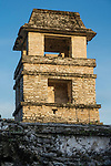 The Palace tower at sunrise in the ruins of the Mayan city of Palenque,  Palenque National Park, Chiapas, Mexico.  A UNESCO World Heritage Site.