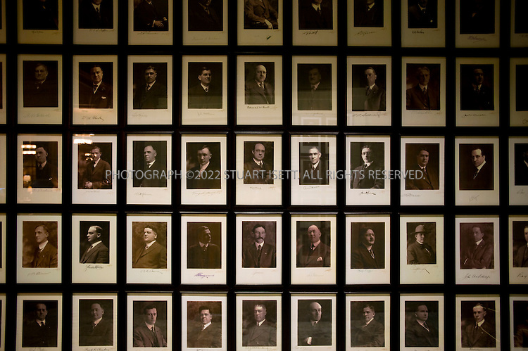 10/2/2008--Seattle, WA, USA..Edward Curtis photos of the Arctic Club members hang in Seattle?s Arctic Club Hotel. The building, which is on the National Register of Historic Places, was designed in 1916 by architect A. Warren Gould for members of the Arctic Club, veterans of the Alaskan Gold Rush. After a more than two-year renovation, it opened in July, 2008. Reminders of its history abound: Sepia photographs of the club?s founders line the walls behind the reception desk; the lobby-level Polar Bar, with its leather chairs fairly reeks of manly clubbiness; and on the building?s exterior, 27 walrus heads serve as polar caryatids. The Arctic Club, 700 3rd Avenue, at Cherry. (206) 340-0340 or 800-600-7775; www.arcticclubhotel.com..©2008 Stuart Isett. All rights reserved.