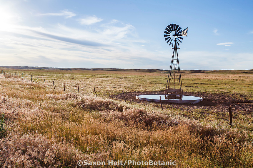 Water windmill for cattle on Merz Ranch, Sand Hill Prairie, nebraska