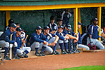 17 June 2008: The Oneonta Tigers wait out a rain delay in their dugout prior to the Opening Day game against the Vermont Lake Monsters at historic Centennial Field in Burlington, Vermont. The Lake Monsters defeated the Tigers 6-4 in the first game of their three-game season opening series in Vermont...Mandatory Credit: Ed Wolfstein Photo