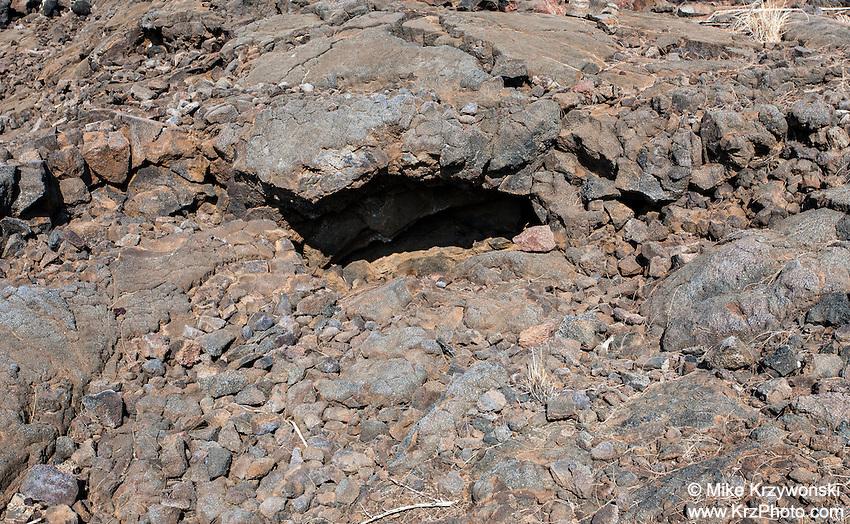 Cave shelter at the Waikoloa Petroglyph Field, Big Island, Hawaii