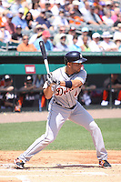 Detroit Tigers second baseman Omar Infante (4) at bat against the Miami Marlins during a spring training game at the Roger Dean Complex in Jupiter, Florida on March 25, 2013. Detroit defeated Miami 6-3. (Stacy Jo Grant/Four Seam Images)........