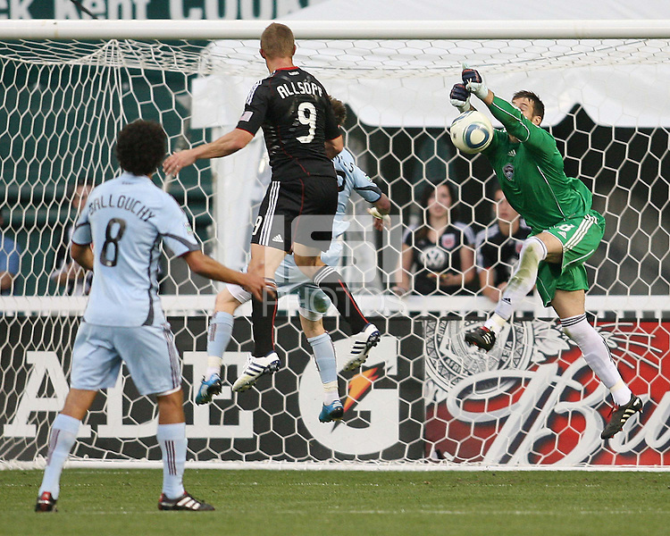 Danny Allsopp #9 of D.C. United heads the ball at Matt Pickens #18 of the Colorado Rapids during an MLS match on May 15 2010, at RFK Stadium in Washington D.C. Colorado won 1-0.