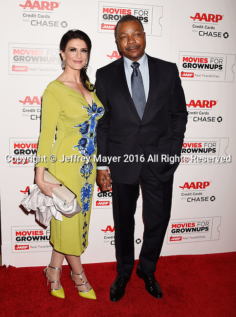 BEVERLY HILLS, CA - FEBRUARY 08: Actor Carl Weathers (R) and guest attend AARP's Movie For GrownUps Awards at the Regent Beverly Wilshire Four Seasons Hotel on February 8, 2016 in Beverly Hills, California.