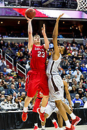 Washington, DC - MAR 10, 2018: Davidson Wildcats forward Peyton Aldridge (23) drives to the basket against St. Bonaventure Bonnies forward LaDarien Griffin (15) during semi final match up of the Atlantic 10 men's basketball championship between Davidson and St. Bonaventure at the Capital One Arena in Washington, DC. (Photo by Phil Peters/Media Images International)