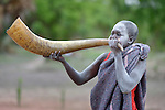 A girl blows a cattle horn as part of a traditional dance at the Loreto Secondary School in Rumbek, South Sudan. The school is run by the Institute for the Blessed Virgin Mary--the Loreto Sisters--of Ireland.