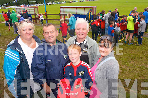 The Munster teams visit to Tralee Rugby club for an open training session which ran in conjunction with the Munster Rugby Summer Camp. Pictured, l-r: Helen and John Kerins, Adam Barrett-Duggan, Davey Barrett, and Melissa Barrett.