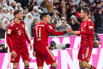 17.03.2019, Allianz Arena, Muenchen, GER, 1.FBL,  FC Bayern Muenchen vs. Mainz 05, DFL regulations prohibit any use of photographs as image sequences and/or quasi-video, im Bild Jubel nach dem Tor zum  5-0 durch James Rodriguez (FCB #11)  mit Leon Goretzka (FCB #18) Thomas M&uuml;ller (FCB #25) <br /> <br />  Foto &copy; nordphoto / Straubmeier