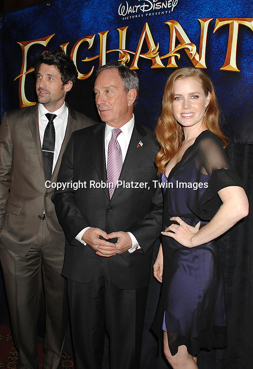 "Patrick Dempsey, Mayor Michael Bloomberg and Amy Adams..arriving at the special screening of ""Enchanted"" on November 19, 2007 at The Ziegfeld in New York City. ..The screening was in celebration of the movie being made in New York...Robin Platzer, Twin Images"