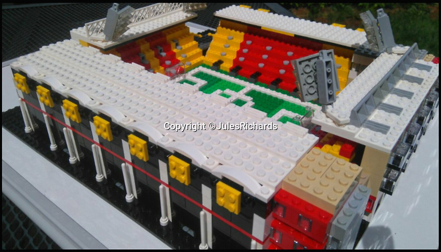 BNPS.co.uk (01202 558833)<br /> Pic: JulesRichards/BNPS<br /> <br /> Watford's Vicarage Road.<br /> <br /> Here lego, here lego, here lego...<br /> <br /> A supermarket manager is building all 92 Football League grounds out of Lego.<br /> <br /> Jules Richards built his first stadium out of Lego he found in his loft one afternoon 18 months ago and he is now over two thirds of the way to completing all 92 Premier League, Championship, League One and League Two grounds.<br /> <br /> The 44 year-old spends up to 12 hours on each stadium and uses on average 1,300 Lego blocks to make them look uncannily similar to the real thing.