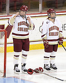 Katelyn Kurth (BC - 14), Caitlin Walsh (BC - 11) - The Boston College Eagles and the visiting University of New Hampshire Wildcats played to a scoreless tie in BC's senior game on Saturday, February 19, 2011, at Conte Forum in Chestnut Hill, Massachusetts.