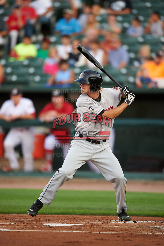 Wisconsin Timber Rattlers outfielder Mitch Meyer (19) at bat during a game against the Peoria Chiefs on August 21, 2015 at Dozer Park in Peoria, Illinois.  Wisconsin defeated Peoria 2-1.  (Mike Janes/Four Seam Images)