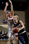 SIOUX FALLS, SD: MARCH 19:  Rylee Kane #25 of MSU Billings drives past Maddie Dackin #20 of Ashland during their game at the 2018 Division II Women's Elite 8 Basketball Championship at the Sanford Pentagon in Sioux Falls, S.D. (Photo by Dick Carlson/Inertia)