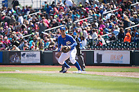 Cheslor Cuthbert (24) of the Omaha Storm Chasers in action against the Memphis Redbirds in Pacific Coast League action at Werner Park on April 22, 2015 in Papillion, Nebraska.  (Stephen Smith/Four Seam Images)