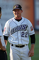 Akron Aeros John Drennen #22 before a game against the Trenton Thunder at Canal Park on July 26, 2011 in Akron, Ohio.  Trenton defeated Akron 4-3.  (Mike Janes/Four Seam Images)