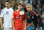 Kostas Katsouranis, Dmitriy Torbinskiy and Antonios Nikopolidis at Euro 2008, RUS-GRE, 06142008, Salzburg, Austria