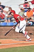 Johnson City Cardinals first baseman Luis Bandes (47) swings at a pitch during a game against the Elizabethton Twins at Howard Johnson Field at Cardinal Park on June 26, 2016 in Johnson City, Tennessee. The Twins defeated the Cardinals 13-12. (Tony Farlow/Four Seam Images)