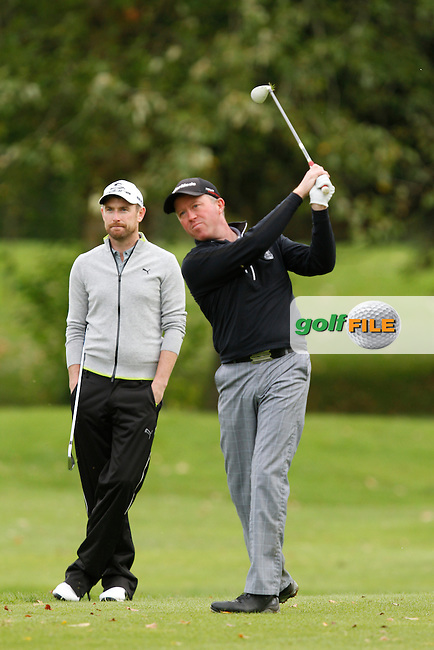 Peter Jones (Coollattin) on the 18th green during Round 4 of the 104th Irish PGA Championship at Adare Manor Golf Club on Sunday 5th October 2014.<br /> Picture:  Thos Caffrey / www.golffile.ie