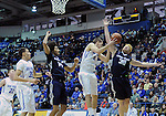 February 28, 2015 - Colorado Springs, Colorado, U.S. -  Utah State forward, Sean Harris #30 and Falcon forward, Marek Olesinski #0, battle for a rebound during an NCAA basketball game between the Utah State Aggies and the Air Force Academy Falcons at Clune Arena, U.S. Air Force Academy, Colorado Springs, Colorado.   Utah State defeats Air Force 74-60.