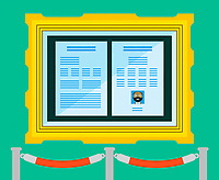 Curriculum vitae in gold frame behind rope barrier