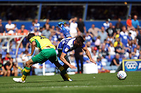 Lukas Jutkiewicz of Birmingham City goes down under pressure from Timm Klose of Norwich City during Birmingham City vs Norwich City, Sky Bet EFL Championship Football at St Andrews on 4th August 2018