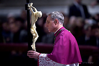 Monsignor Georg Gänswein,.  Pope Francis the ceremony of the Good Friday Passion of the Lord Mass in Saint Peter's Basilica at the Vatican.March 30, 2018