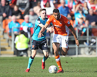 Blackpool's Curtis Tilt in action with Fleetwood Town's Harrison Biggins<br /> <br /> Photographer Mick Walker/CameraSport<br /> <br /> The EFL Sky Bet League One - Blackpool v Fleetwood Town - Saturday 14th April 2018 - Bloomfield Road - Blackpool<br /> <br /> World Copyright &copy; 2018 CameraSport. All rights reserved. 43 Linden Ave. Countesthorpe. Leicester. England. LE8 5PG - Tel: +44 (0) 116 277 4147 - admin@camerasport.com - www.camerasport.com