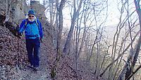 NWA Democrat-Gazette/FLIP PUTTHOFF<br />Tom Mowry navigates    Jan. 19 2018   the Buffalo River Trail  between Poncal and Steel Creek.