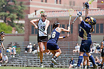 Los Angeles, CA 04/18/10 - Miriam Kolni (UC Davis # 32), Amanda Nespor (Cal Poly #15) and Emily Wong (UC Davis # 16) in action during the 2010 Western Women Lacrosse League Championship game between UC Davis and Cal Poly SLO for third place, hosted by UCLA.  UC Davis edged Cal Poly SLO 8-7 in overtime.