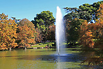 Water fountain in pond lake by Crystal Palace, El Retiro park, Madrid, Spain