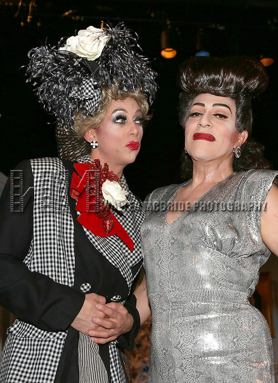 Sherry Vine and Joey Arias from the cast of 'Christmas with the Crawfords' at the Abrons Arts Center Henry Street Settlement Theatre on December 14, 2014 in New York City.