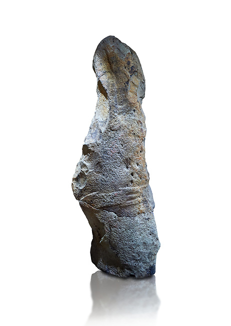 Late European Neolithic prehistoric Menhir standing stone with carvings on its face side. The remains of a representation of a stylalised male figure starts at the top with a long nose from which 2 eyebrows arch around the top of the stone. below this is a carving of a falling figure with head at the bottom and 2 curved arms encircling a body above. at the bottom is a carving of a dagger running horizontally across the menhir. the bottom is a carving of a dagger running horizontally across the menhir. Excavated from Piscina 'E Sali IV site,  Laconi.  Menhir Museum, Museo della Statuaria Prehistorica in Sardegna, Museum of Prehoistoric Sardinian Statues, Palazzo Aymerich, Laconi, Sardinia, Italy. White background.