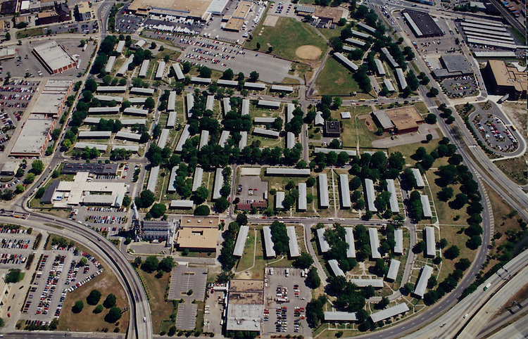 """1997 June 10.Aerial taken for David Smith.Tidewater Gardens (6-2 & 6-9).Assisted Housing..Tidewater Gardens looking North.North Church Street on left.Tidewater Drive on right.Print from 35mm color neg..filed """"TIDEWATER1"""" AERIALS DRWPt1...NEG#.NRHA#..06/97  HOUSING:Tidewtr1  2:16  8.."""