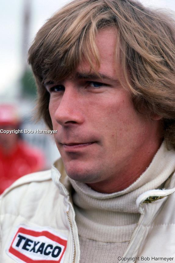 James Hunt, driver for Team McLaren, at the 1979 Formula 1 race in Long Beach, California.