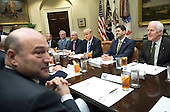 United States President Donald Trump meets with the Republican Congressional leadership in the Roosevelt Room at the White House in Washington, D.C. on March 1, 2017. From left to right: Director of the National Economic Council Gary Cohn, OMB Director is Mick Mulvaney, US House Majority Leader Kevin McCarthy (Republican of California), US Senate Majority Leader Mitch McConnell (Republican of Kentucky) President Trump, Speaker of the US House Paul Ryan, (Republican of Wisconsin) and US Senate Majority Whip John Cornyn (Republican of Texas)  <br /> Credit: Kevin Dietsch / Pool via CNP