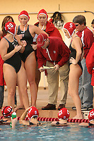 2 February 2007: John Tanner talks with Lauren Silver, Katie Hansen, Kelly Eaton, Allison Gregorka, Heather West and Jacquelyn Gauthier during Stanford's 10-6 win over Hawaii at the Avery Aquatic Center in Stanford, CA.