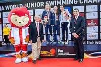 Podium<br /> RUDIN Rosie GBR Gold Medal and New Junior World Record<br /> COATES Georgia GBR Silver Medal<br /> ZAMORANO Africa ESP Bronze Medal<br /> 400 Medley Women Final <br /> Day01 25/08/2015 - OCBC Aquatic Center<br /> V FINA World Junior Swimming Championships<br /> Singapore SIN  Aug. 25-30 2015 <br /> Photo A.Masini/Deepbluemedia/Insidefoto