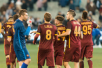 Melbourne, 18 July 2015 - Morgan De Sanctis of AS Roma gestures to his team mates after their win in game one of the International Champions Cup match at the Melbourne Cricket Ground, Australia. Roma def Real Madrid 7-6 Penalties. Photo Sydney Low/AsteriskImages.com