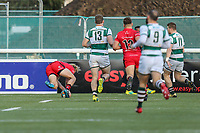 Leroy VAN DAM of Jersey Reds scores his try during the Greene King IPA Championship match between Ealing Trailfinders and Jersey Reds at Castle Bar , West Ealing , England  on 22 December 2018. Photo by David Horn.