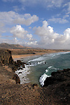 Waves on the beach,Playa del Castillo, El Cotillo, Fuerteventura, Canary Islands, Spain.