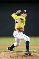Pitcher Jake Simon (25) of the Columbia Fireflies delivers a pitch in a game against the Augusta GreenJackets on Thursday, July 11, 2019 at Segra Park in Columbia, South Carolina. Columbia won, 5-2. (Tom Priddy/Four Seam Images)