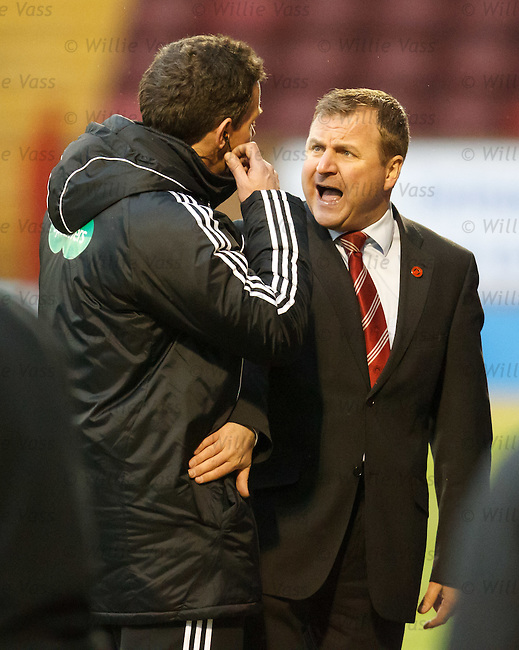Hamilton manager Billy Reid complains to the fourth official