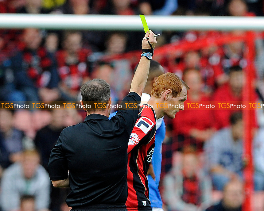 Shaun MacDonald of AFC Bournemouth gets booked in the first half - AFC Bournemouth vs Blackburn Rovers - Sky Bet Championship Football at the Goldsands Stadium, Bournemouth, Dorset - 28/09/13 - MANDATORY CREDIT: Denis Murphy/TGSPHOTO - Self billing applies where appropriate - 0845 094 6026 - contact@tgsphoto.co.uk - NO UNPAID USE