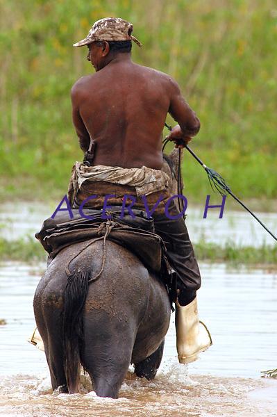 Vaqueiro chega do campo cavalo, fazenda Tuiuiu.<br /> Cachoeira do Arari, Par&aacute;, Brasil.<br /> 08/05/2006<br /> Foto Paulo Santos/Interfoto