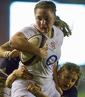 Amy Cokayne in action, England Women v Scotland Women in the 6 Nations at Northern Echo Arena, Darlington, England, on 13th March 2015